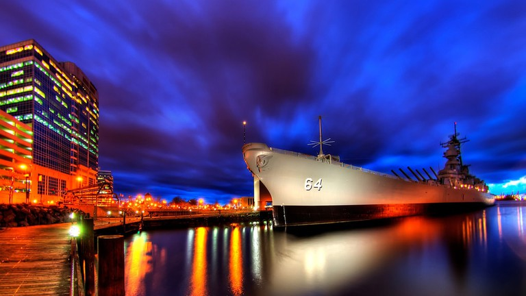 Battleship Wisconsin in downtown Norfolk