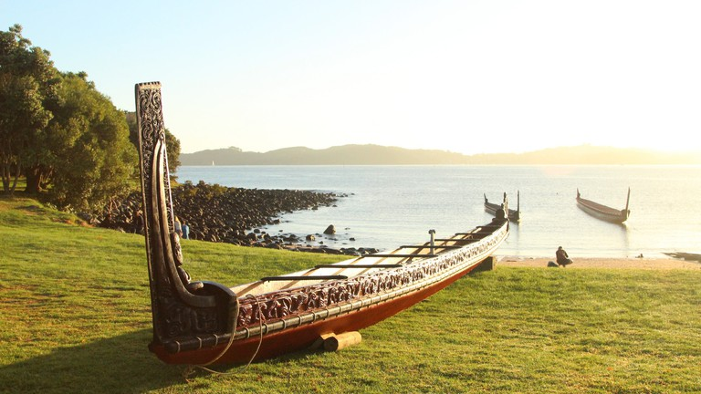 Traditional Maori waka (canoe) at Waitangi, New Zealand