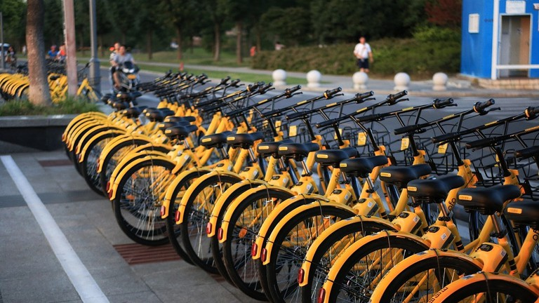 """Ofo bikes, also known as """"little yellow bikes,"""" in China"""