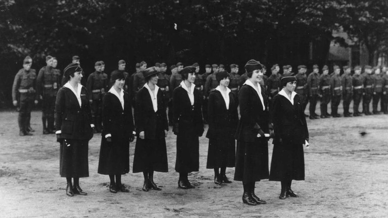 Signal Corp Hello Girls line up before receiving recognition for their work in France during World War I