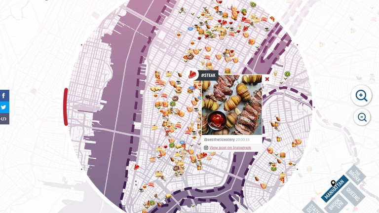 This Map Shows the Most Instagrammed Foods in New York City Instagram Map View on mobile map, inforgraphic map, geo location map, find me on map, san jose bike party map, thanksgiving map, asia city map, napa wineries map, pinboard map,