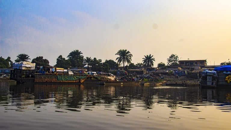 A view of the sunset on the Congo River