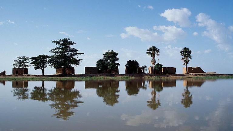 Mud huts along the Niger River