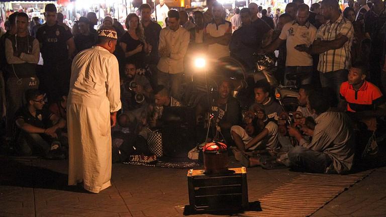 A storyteller in the square of Jemaa el-Fna