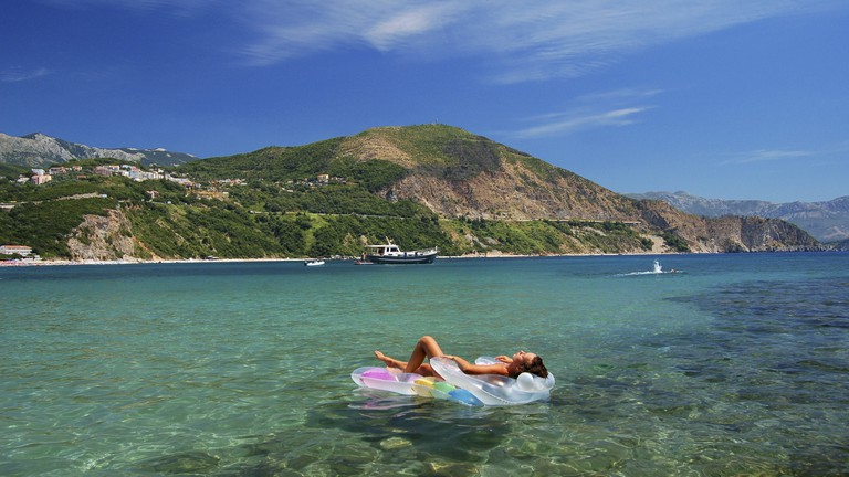 Sunbathing on Adriatic waters in Montenegro