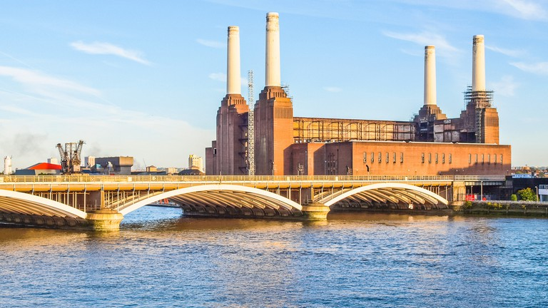 The Battersea Power Station in London shines on a clear day