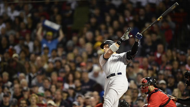 Aaron Judge shows off his classic home run swing
