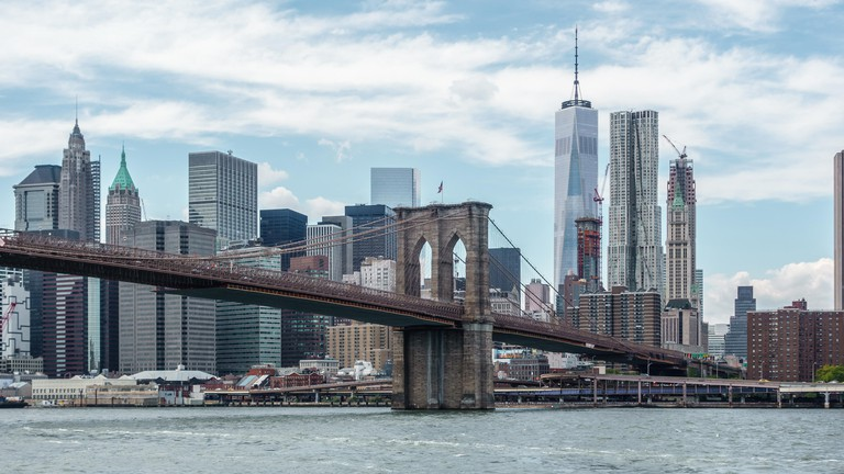 The Brooklyn Bridge and New York City in the background