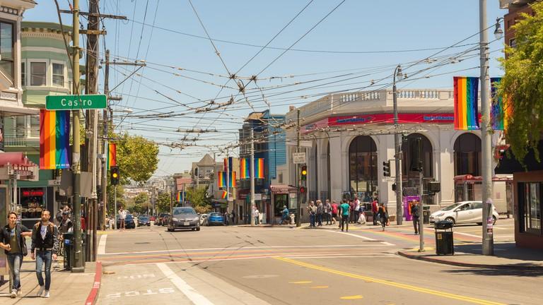 Castro District Rainbow Crosswalk Intersection, San Francisco, California, USA.