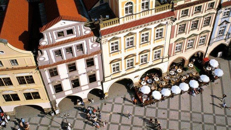 Prague's Old Town Square is surrounded by beautiful buildings