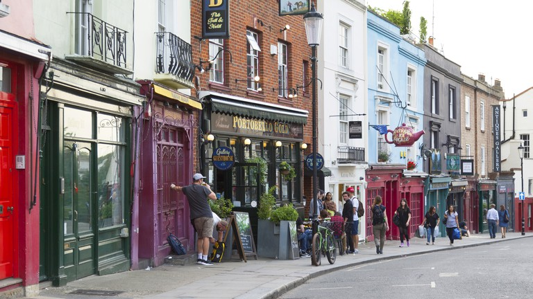 Bars and restaurants in Notting Hill, London.