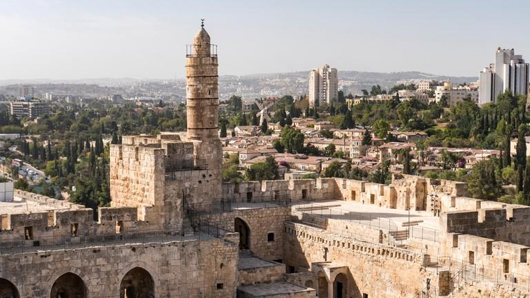 The high minaret of the Ottoman Mosque, Jerusalem