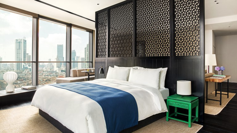 The contemporary rooms at The Middle House feature traditional Chinese motifs