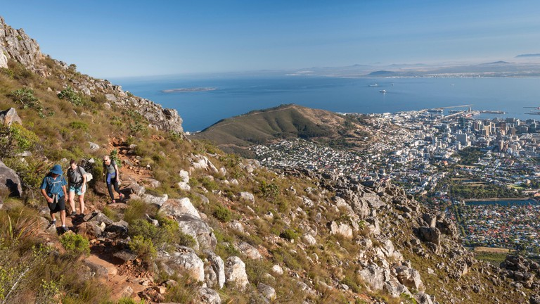 Hikers tackle the India Venster hiking path on Table Mountain in Cape Town