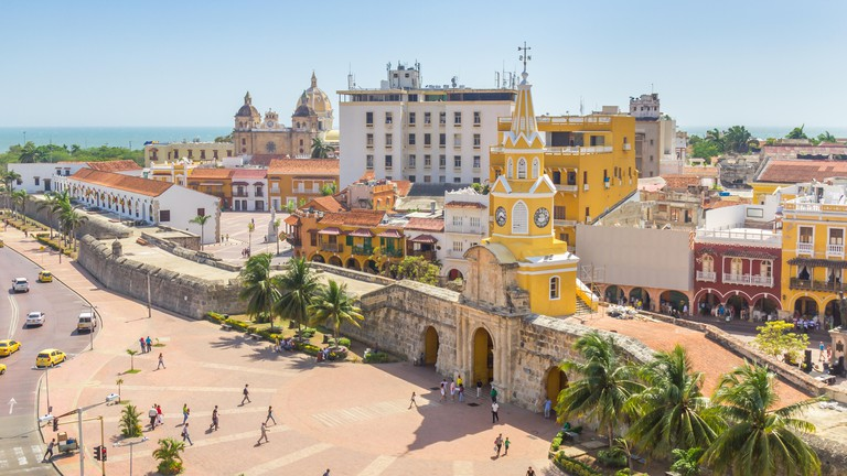The Torre del Reloj clock tower in Cartagena is an unmissable landmark