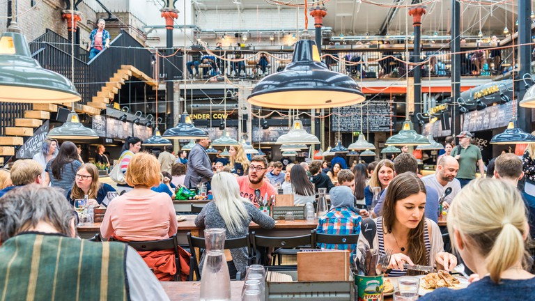 A 19th-century market building, Mackie Mayor is now a bustling food hall