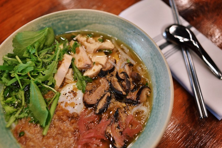 Hu Tieu Ga: J. Ludovico chicken & broth, egg, cracklings, garlic, shiitake, chrysanthemum, fresh rice noodles