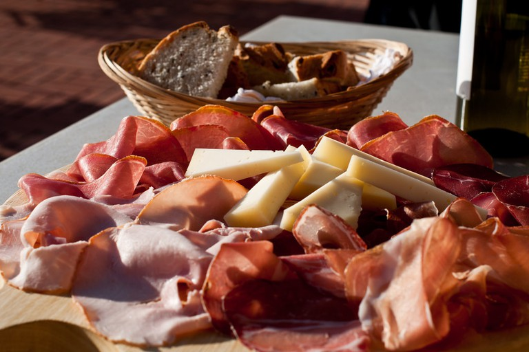 Cheese, Prosciutto, Bread and Wine