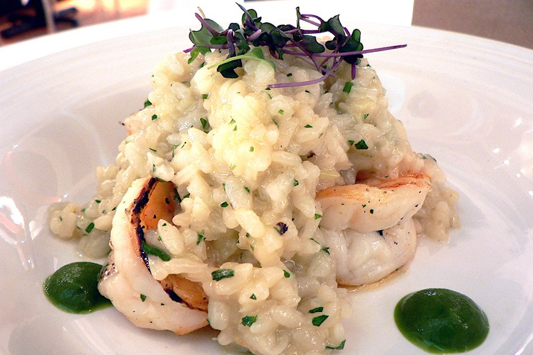 Tandoor roasted Texas shrimp and lemon-herb risotto