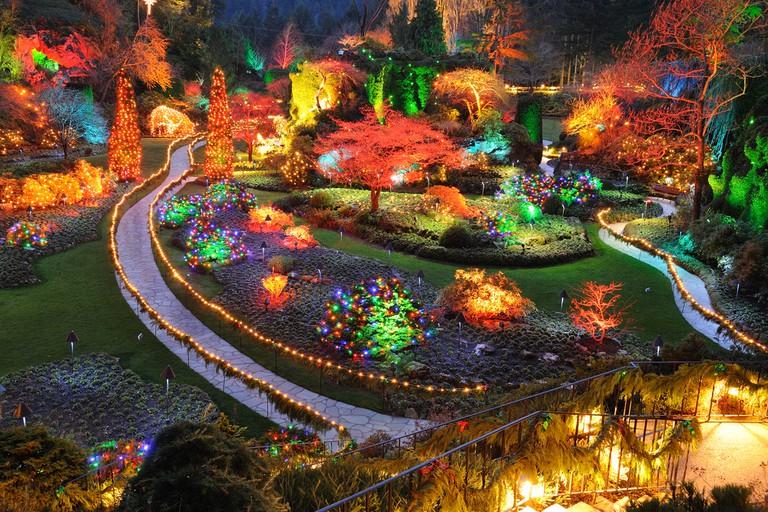 Beautiful sunken garden night scene in Christmas in historic butchart gardens, victoria, british columbia, canada