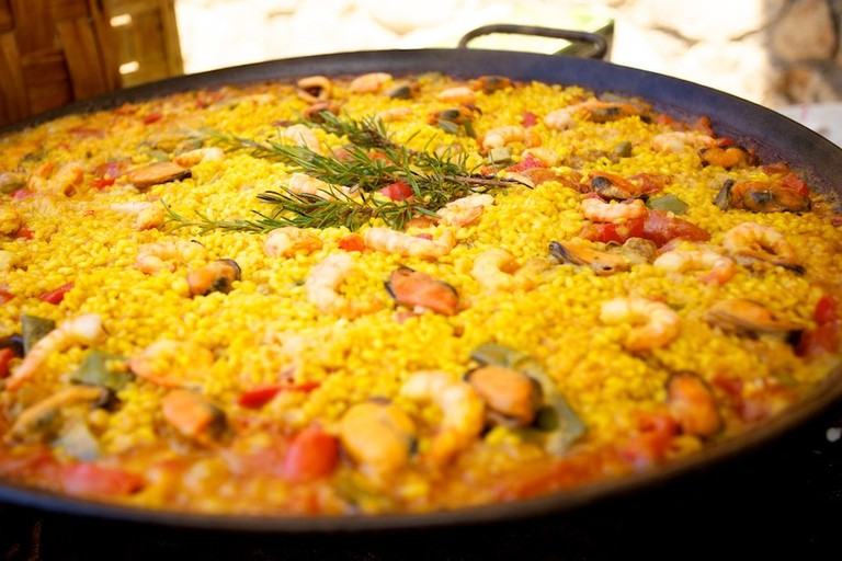 Fresh and Delicious Plate of Paella