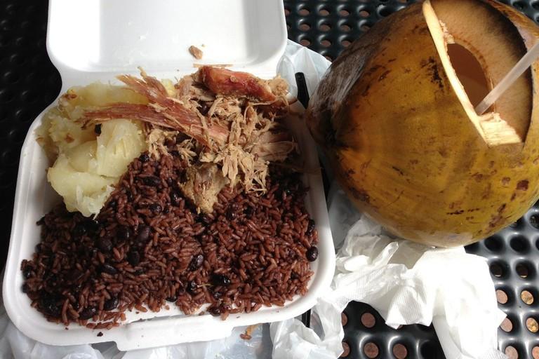 Lechon Asado, Yuca, Black Beans, and Rice