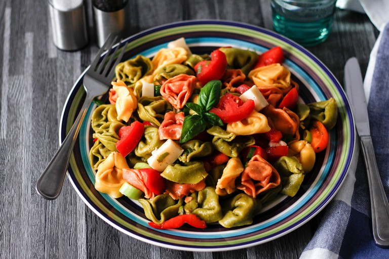 Healthy and colourful veggie pasta