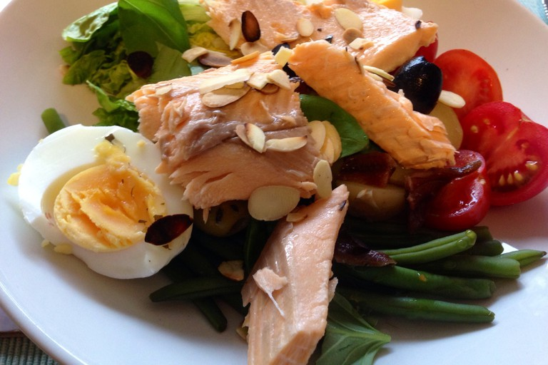 Trout on salade niçoise base