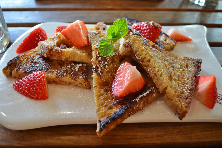 French toast with strawberries at Le Pain Quotidian