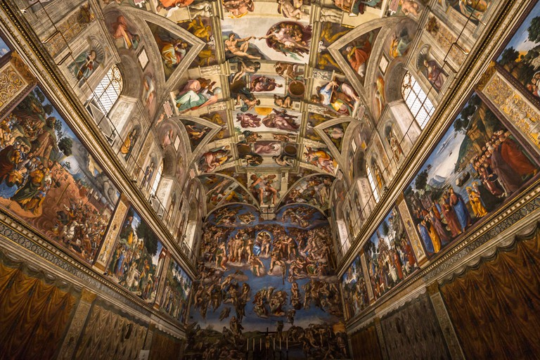 Ceiling of the Sistine chapel in the Vatican Museu, Vatican City