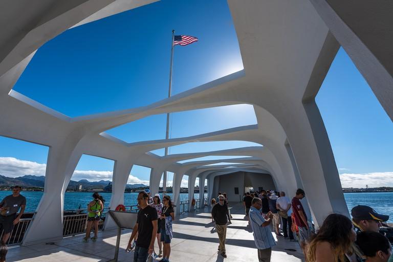 People visiting the USS Arizona Memorial at Pearl Harbor, Hawaii
