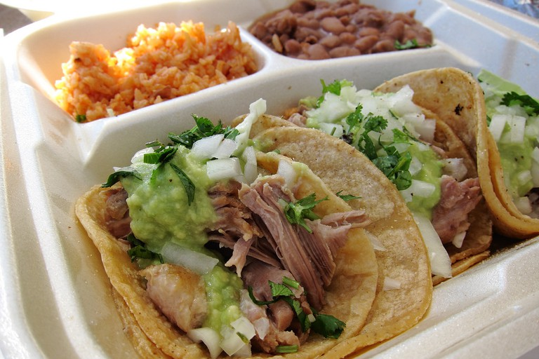 Meat Tacos and Beans