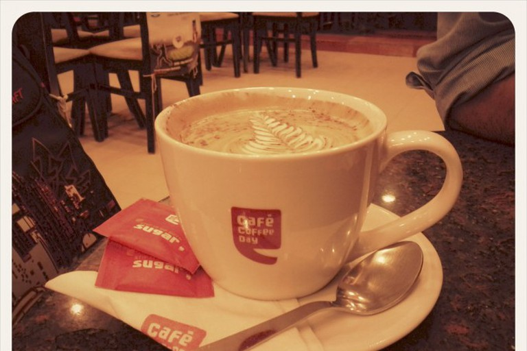 Coffee. At the Mariplex Café Coffee Day. Almost empty for a rainy Friday evening