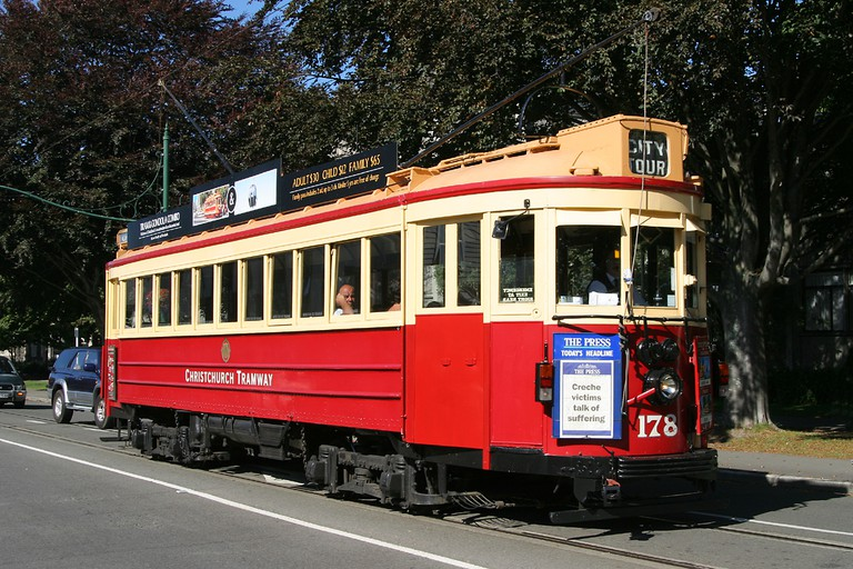 Vintage Christchurch Boon-built Tram No 178 on the Christchurch Tramway