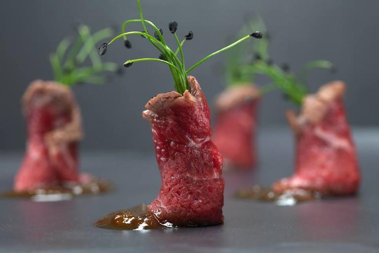 Beef tataki dish at Nama