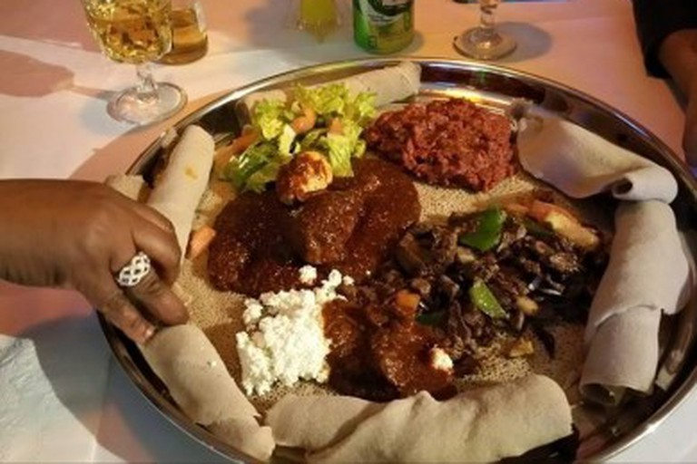 Meat and Veggie platter at Addis