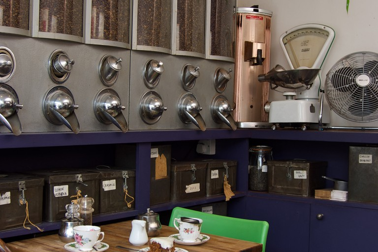 Display of coffee beans at Royal Teas