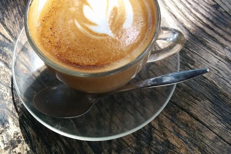 Enjoying a coffee at Baccio