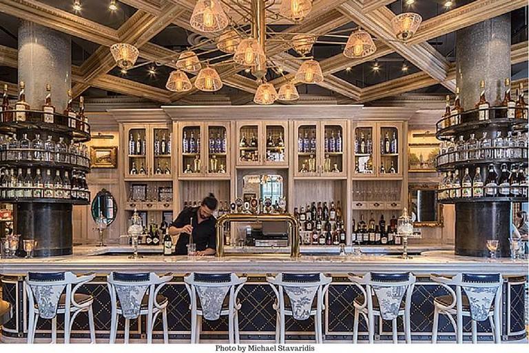 Lavish bar area at Cluny Bistro