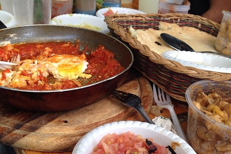 Shakshuka at Hasaluf, Hatikva Market Courtesy of Amir Niss