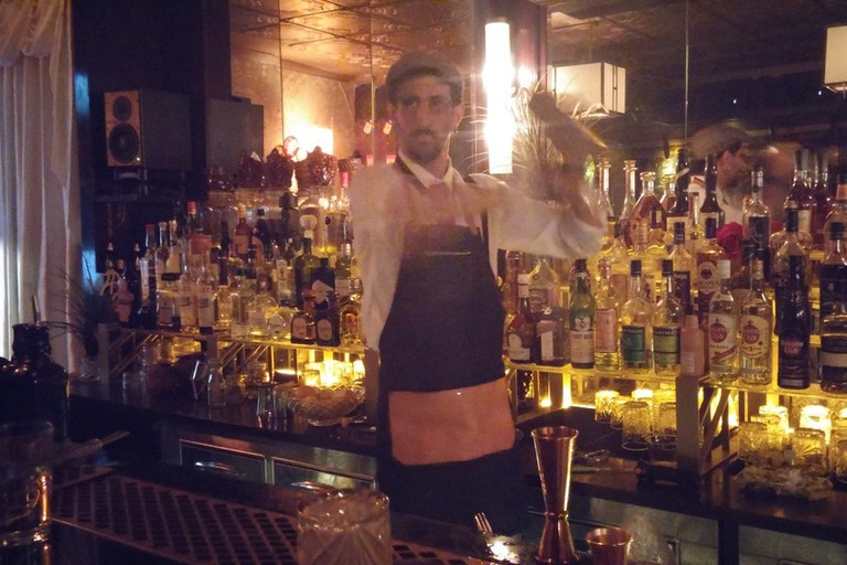 Mixing a cocktail at the Gatsby