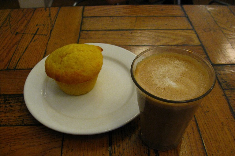 White Squirrel Coffee and Cornmeal Lemon Muffin