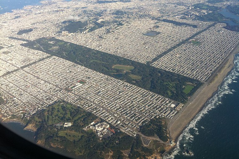 View of Golden Gate Park from the air.