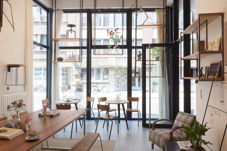 The interior of Koffie en Staal, designed by Nouchka and Lino themselves