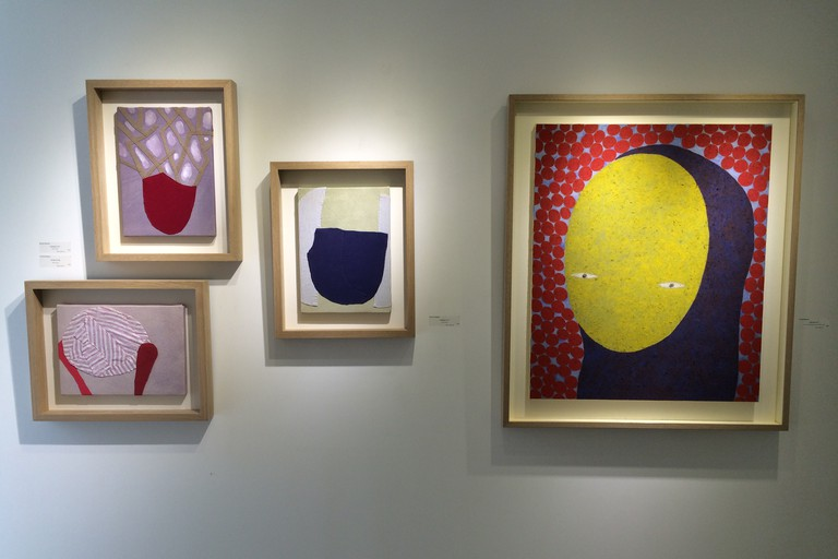 [From left to right] Untitled 4G, Untitled 4B, Untitled 4F, Left behind I by Nobuko Watabiki at Whitestone Gallery Hollywood Road