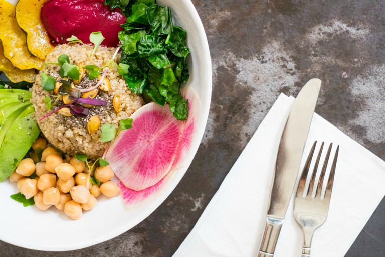 Quinoa Bowl with Beet Tahini