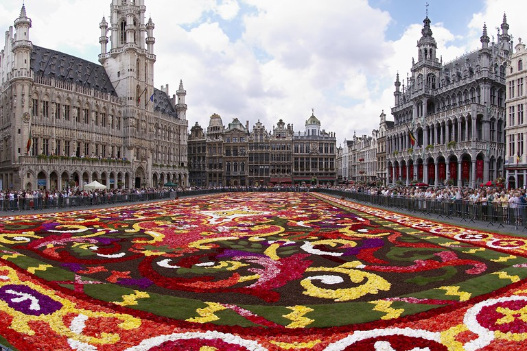 Brussels Grand-Place during the biennial flower carpet