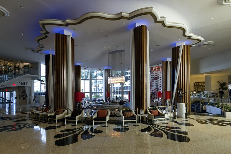 The Eden Roc lobby has distinct features of the Miami Modernist architectural style