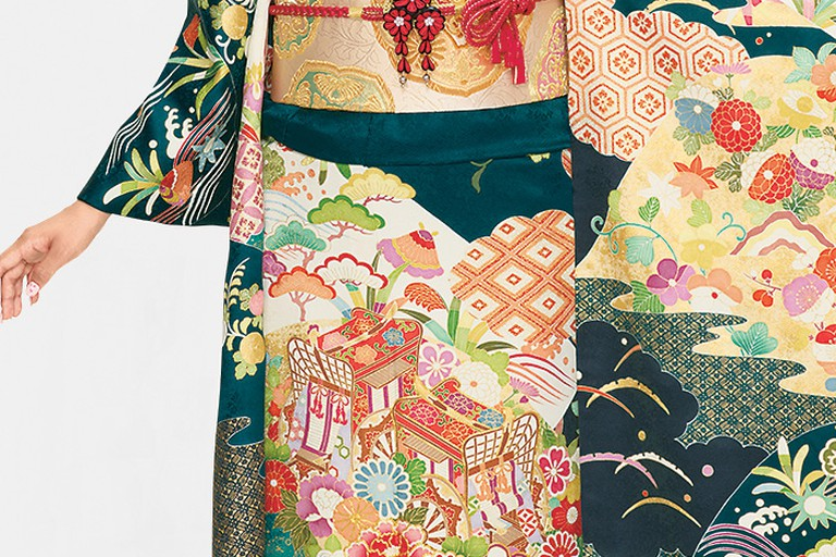 Very elaborate furisode, a long-sleeved kimono typically for unmarried women
