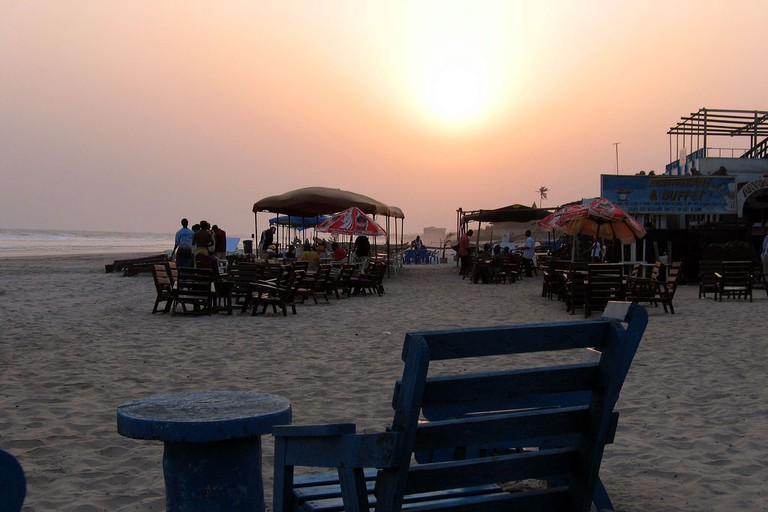 Sunset at Labadi beach